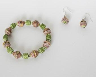 Handmade Paper Bead Bracelet & Earrings - Woodlands and Green Pastures