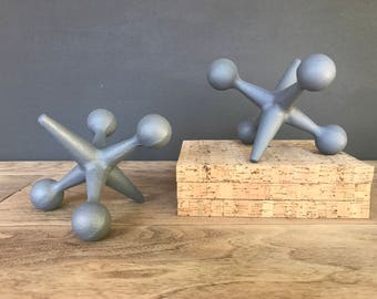 Gray Jacks Home Decor Book Ends ~ Unique Mid Century Modern Style Jacks Bookends - Fun Jax Gift