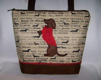 Dachshund Purse/Smooth Hair Red/Brown Dachshund wearing sweater and Sitting Pretty - Wiener Dog - Handbag-Purse-Made to Order