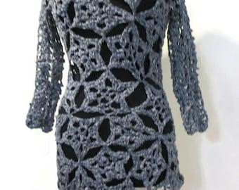 Crochet Sweater, stars sweater, OOAK womens clothing, free USA shipping