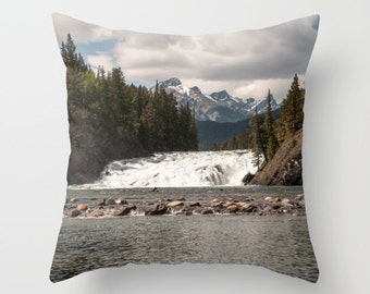 Mountain Lodge Cushion Case, Banff Photography, Rustic Rock Home Decor, Accent Pillow Covers For A Cabin, Lake House Art, Bow Falls Alberta