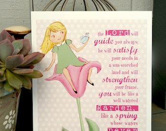 Tulip Garden Girl - scripture art print - Children's room wall art - girl's room art - nursery decor