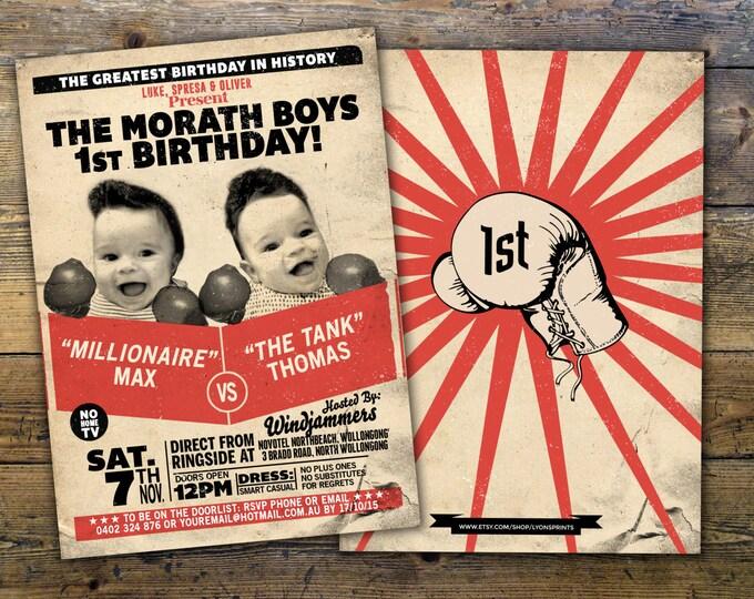 Twins birthday,Retro, vintage boxing, birthday invitation, boxing, men's birthday, 21st, 30th, 40th, 50th, 60th, boy's birthday,twins, boy