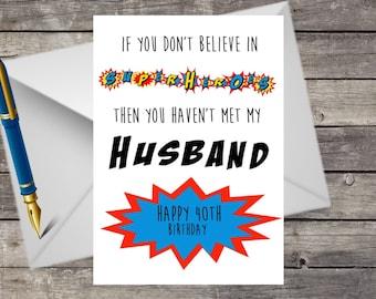 Handmade 30th, 40th, 50th, 60th, 70th, 80th, Husband Birthday Card, A5 with Envelope, Superhero, Superheroes