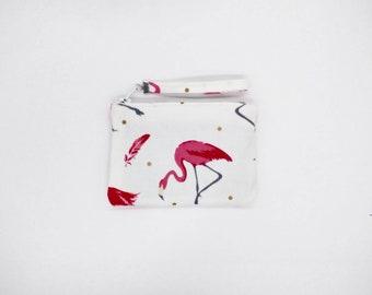 Tropical pink Flamingo print coin purse