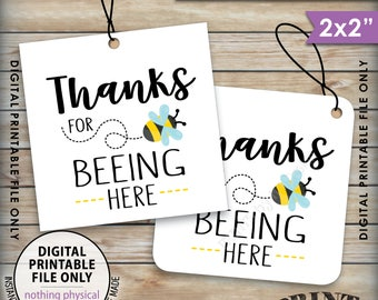"Thanks for BEEing Here Cards or Tags, Bee Birthday Party, Bee Baby Shower, Bumble Bee Party, 2x2"" tags on 8.5x11"" Printable Instant Download"