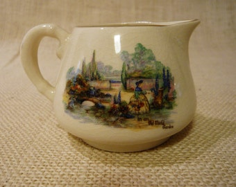 Sandland Ware Creamer Number 165 - In An Old World Garden Pattern With Scene of Lady with Basket of Flowers