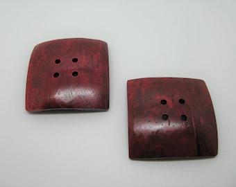 Set of 2 large buttons coconut 5 colors-Burgundy ref 7 cm square