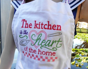 Personalized Apron w/ Sayings, Embroidered Cooking Apron Coverup, Personalized Kitchen Smock, Handmade Embroidered Bib Apron, Baker's Apron