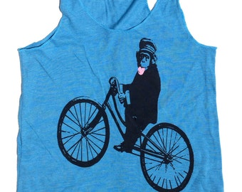 Bicycle Monkey Tank Top for Women, in Racerback Blue