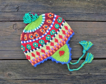 Alpaca Blend Baby Earflap Hat with PomPoms and Flowers - Peruvian Designs - 6-12 months
