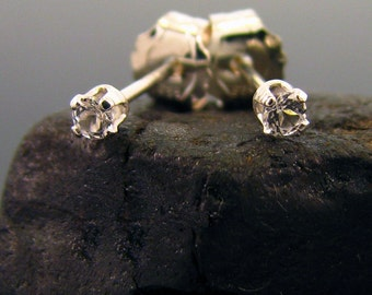 Tiny earring studs, tiny stud with white topaz, small earring natural topaz 2 mm, small earing sterling silver