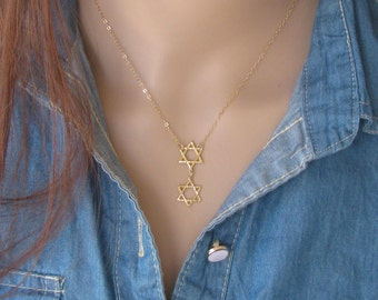 Gold necklace, Star of David necklace, Star of David, layering Star of David, gold Star of David necklace, delicate charm