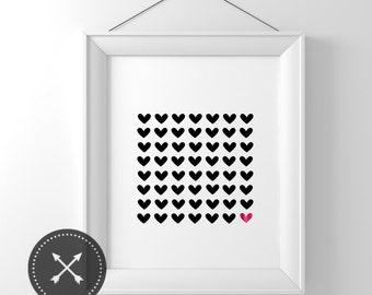 Hearts Foil Print