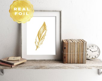 Feather Real Gold Foil Art Print 4 x 6, 5 x 7, Silver Foil, Feather Decor, Trendy Decor, Minimalist, Modern, Print Series, Room Decor