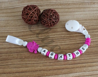 Attached nipple / sucks / lollipop to chew on, silicone, personalized with baby's first name, pattern elephant