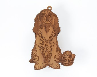 Cavalier King Charles Spaniel Ornament from Timber Green Woods. Personalize with Name Engraving. Made in the U.S.A! - Cherry Wood