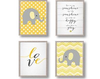 Elephant yellow gray Nursery art, Elephant Nursery print, yellow gray Nursery, Nursery Elephant decor Set of 4, You are my sunshine
