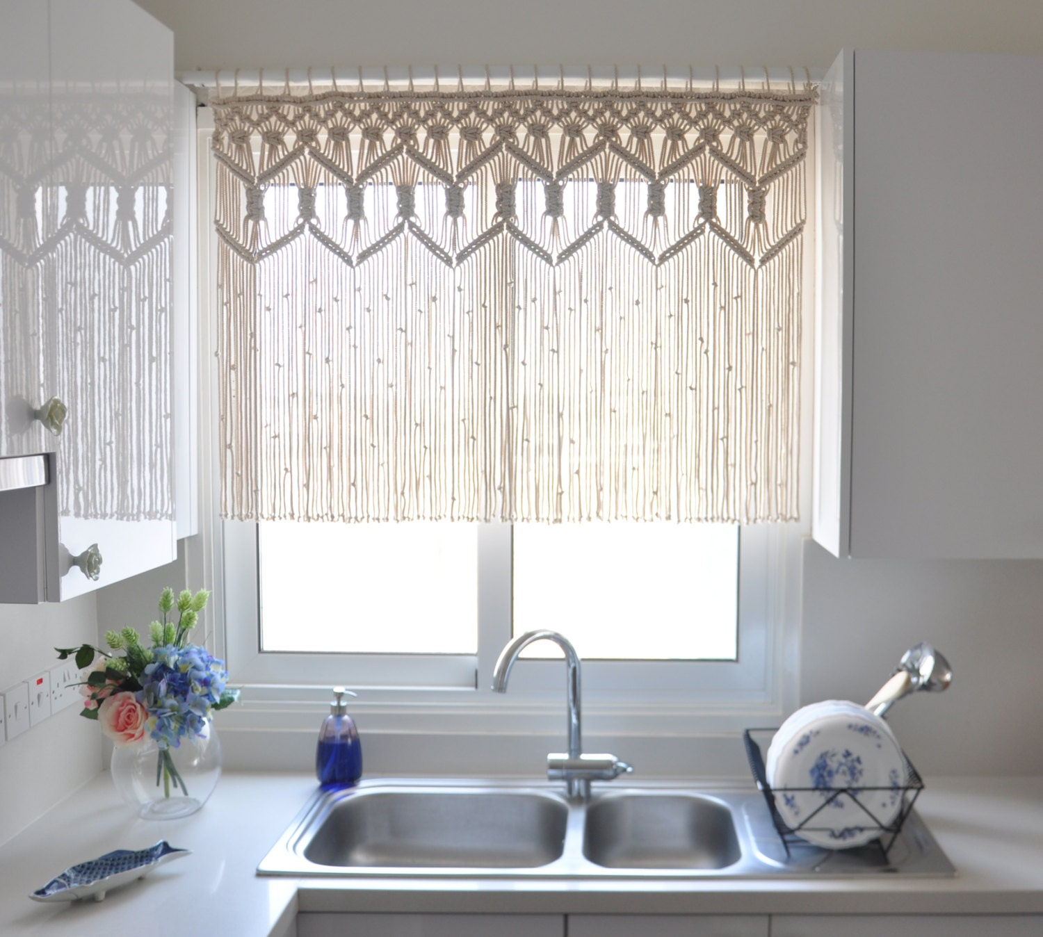 Macrame kitchen curtain custom short macrame wall hanging