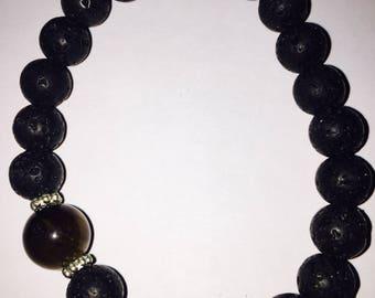 Black Bracelet Tigerseye and Lavastone