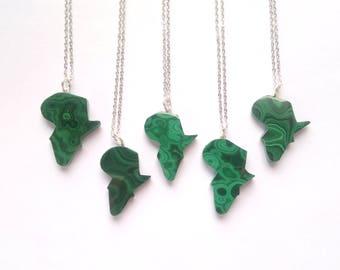 Malachite Necklace Africa Necklace Malachite Pendant Africa Pendant Malachite Africa Shaped Necklace Africa Jewelry Green Stone Necklace