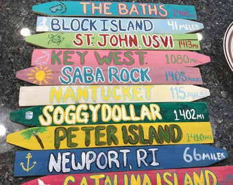 6 Pack* Personalized Travel Destination Directional Mileage Sign