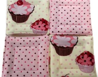 Quilted Coaster Set, Cupcake Coaster Set, Cupcake Drink Coasters, Drink Coaster, Beverage Coasters, Hostess Gift, Housewarming Gift, Coaster