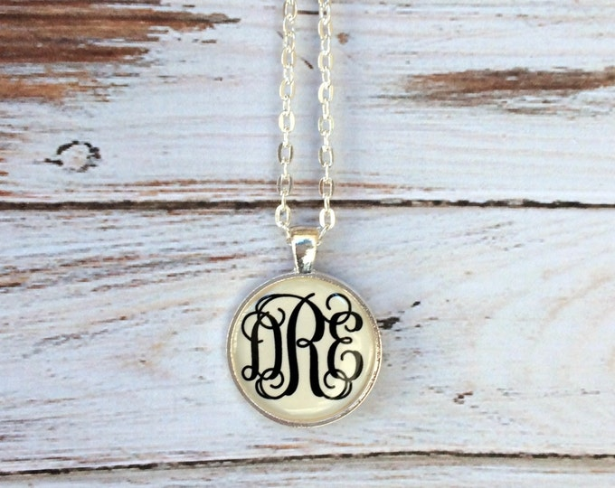 Silver Monogrammed necklace - Monogram Necklaces - Monogrammed gifts - Personalized Jewelry - Bridesmaid Gifts - Personalized Gifts
