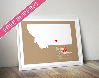 Custom Wedding Gift : Personalized Wedding Location and State Map Print - Montana - Engagement Gift, Wedding Guest Book