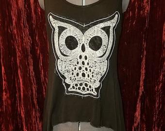 Vintage Black White Embroidered Owl Tank Top T-Shirt, Small Medium
