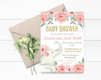 Baby Shower Invitation- Elephant pink and gold Baby Shower- Pink and Gold Baby Shower- Invitation Only- Flower Baby Shower- A001