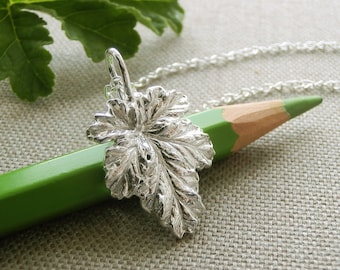 Apricot Scented Geranium Leaf Jewelry - Pure Silver Real Leaf Pendant, Herb Jewelry, Botanical Jewelry, Gardener Gift,