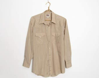 Ely Cattleman Western Shirt / Tan w/ Gold and Silver Metallic Thread Stripes / Men's Vintage 80s Pearl Snap Button-down Shirt