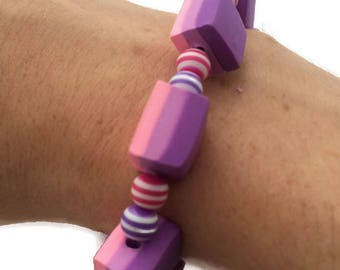 Purple Bracelet - Pink Bracelet - Polymer Clay Beads - Polymer Clay Bracelet - Resin Beads - Elastic Bracelet - Ombre Beads - Jewelry