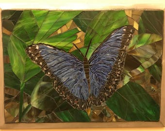 Mosaic Blue  Butterfly   Stained Glass