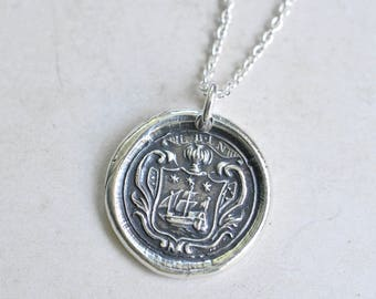 tall ship wax seal necklace … courage, adventure, spirit - ship family crest - fine silver antique armorial wax seal jewelry
