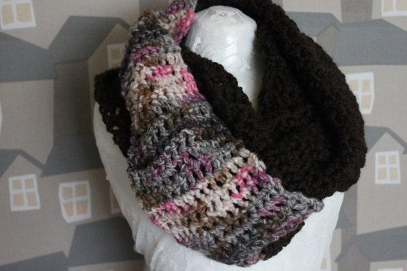 Unisex Crochet Shawl, Handmade Wool Scarf, Chunky Brown Crochet Wool Loop