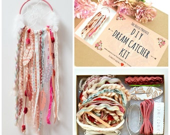 Pink DIY Dream Catcher Kit Birthday Gift For Girls Crafts Wall Hanging Boho Nursery Room Decor Bridesmaid Gifts Dreamcatcher Kit