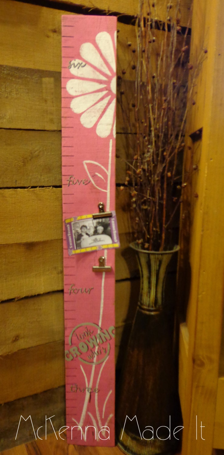 Wooden growth chart with photo clips flower growth chart zoom nvjuhfo Gallery