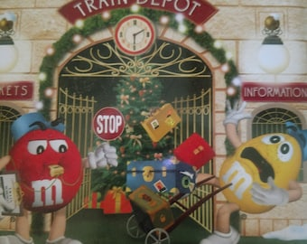 M & M's Holiday Christmas Village Series Train Depot Vintage Candy Tin