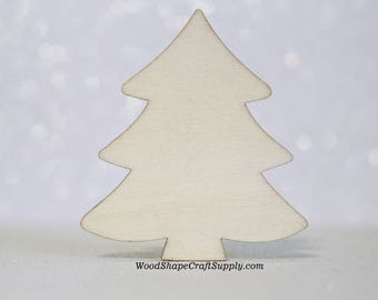 """25 - 2 inch Wooden Christmas Tree Ornament Shape - Blank Christmas Ornament Making Supplies 2"""" - DIY Woodcraft Supply - Wood Tree"""