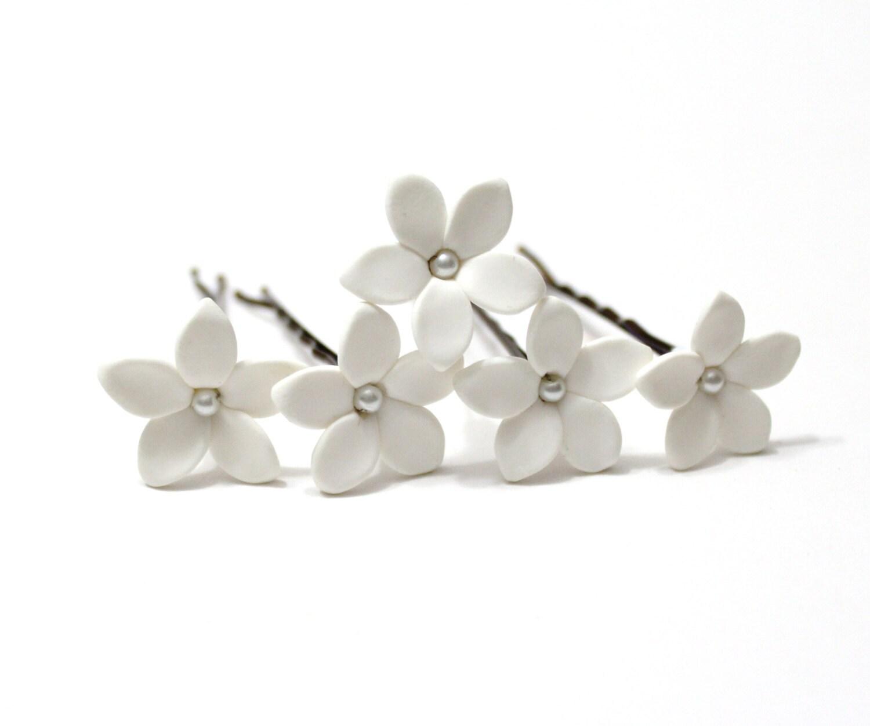 White Jasmine Flower Accessories Hair Pin Jasmine Wedding
