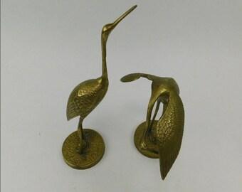 Pair of Vintage Brass Korean Posed Crane Stork Birds Midcentury Retro Classic Decorations Sculpture
