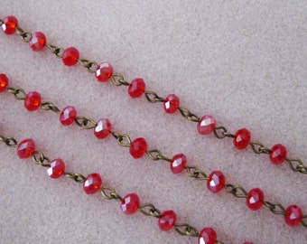 """One Meter 39.5"""" Faceted Red Rondelle Glass 6mm Beaded Rosary Chain Antique Bronze Brass 969-RD"""