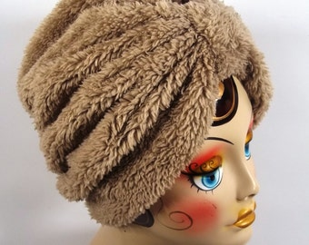 Faux fur, fashion turban, hat, beige, full turban, winter, vintage style, designer, head covering, size Sm, Med, L, XL. Free shipping in USA