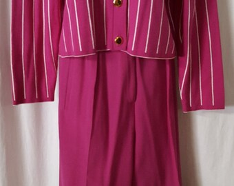 Two Piece Pant Suit by Jaeger. Gorgeous Hot Pink with Off-White Stripes. Made in Great Britain Great for business, cruise, church or brunch.