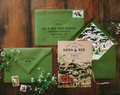 Rustic and Woodland Watercolor Forest Save the Date