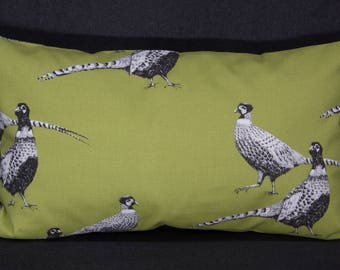 Pillow Case/upholstery with pheasants, fern-Green, 50 x 30 cm