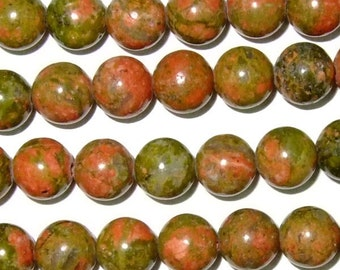 12mm Round Unkaite Beads Genuine Natural 15''L 38cm Loose Beads Semiprecious Gemstone Bead   Supply