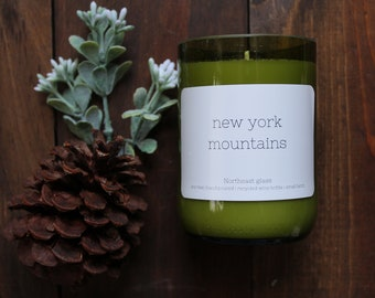 Wine bottle candle // New York Mountains // Mountain candle // New York candle